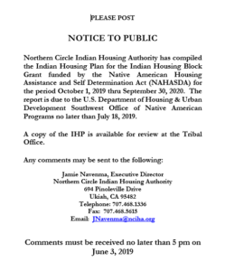 Public Notice – Indian Housing Plan – NCIHA